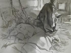 """А. С. Бакулевский """"Черная акварель войны"""". Солдатское письмо. Землянка. (2005 г., бумага, черная акварель)"""