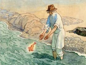 """Б. Дехтерёв - иллюстрация к """"Сказке о рыбаке и рыбке"""""""