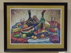"""Ерофеев Э.В. - """"Вино и фрукты"""" (2001 г., бумага, гуашь)"""