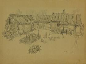 """Ершов В.Н.- """"Дом монашек. Двор"""" (1980 г., бумага, графитный карандаш)"""