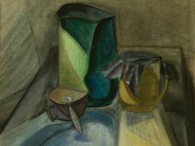 """Ершов В.Н. - """"Натюрморт в стиле Маркевича"""" (1978 г., бумага, акварель)"""