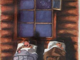 """Иллюстрации художника Н. А. Устинова к произведению И. П. Токмаковой """"Сосны шумят"""""""