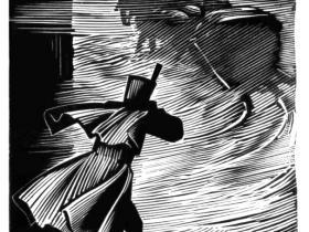 """Иллюстрация А.С. Бакулевского к повести А.С. Пушкина """"Метель"""" (ксилография, 1983 г.)"""