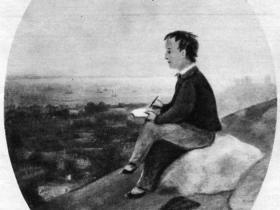 Айвазовский изобразил себя мальчиком, рисующим родной город (1825 г.)