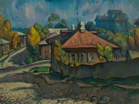 """Кириллов Ю.В. - """"Козьмодемьянск"""" (1993 г., картон, масло)"""