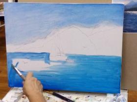 Работа над написанием морского пейзажа