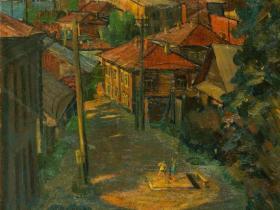 """Муржин А.А. - """"Козьмодемьянск"""" (1991 г., картон, масло)"""