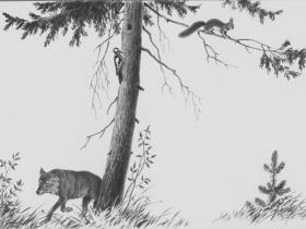 """А. Г. Орлов - иллюстрация """"Дятел, белка, волк"""" (из фондов РМИИ)"""