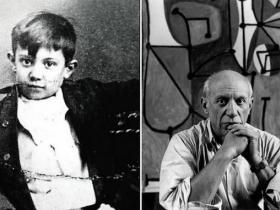 Пабло Пикассо в детстве и в зрелом возрасте