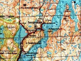 Фрагмент карты с указанием порта Лиинахамари и мыса Крестовый