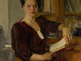 Работа, отреставрированная художником Ершовым В.Н. (Тимофеев В.К. - портрет женщины в бордовом платье)
